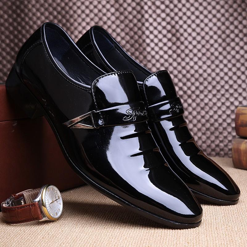 黑色 男士商務皮鞋青年尖頭婚鞋休閒系帶亮面男鞋正裝鞋子