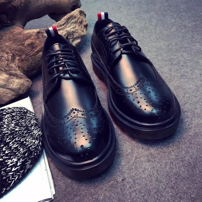 Sun man 英倫龐克雕花透氣孔美型皮鞋日系復古圓頭綁帶硬皮低筒皮鞋牛津鞋休閒皮鞋