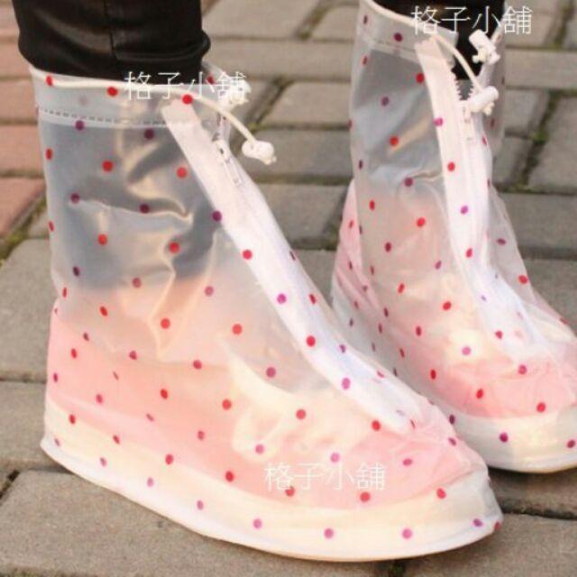 格子小舖 圓點雨鞋套中筒防水雨鞋套雨具雨鞋雨衣防水鞋套