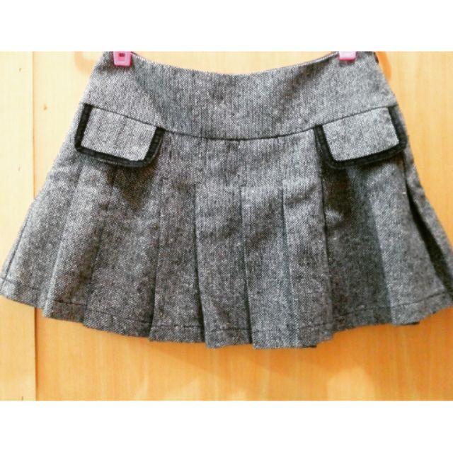 毛尼灰色百折短裙