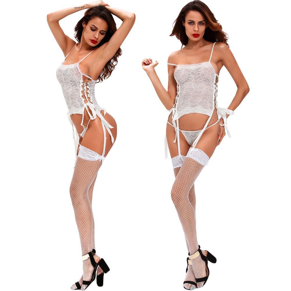 女裝 情趣內衣套裝蕾絲鏤空交叉綁帶吊帶丁字褲配網狀絲襪性感誘惑
