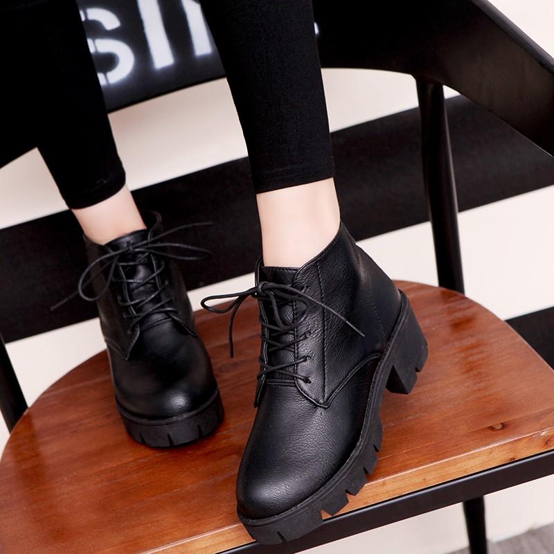 (洛微雅)2016 秋 潮女靴子系帶平底短靴英倫復古風粗跟馬丁靴防水臺女鞋