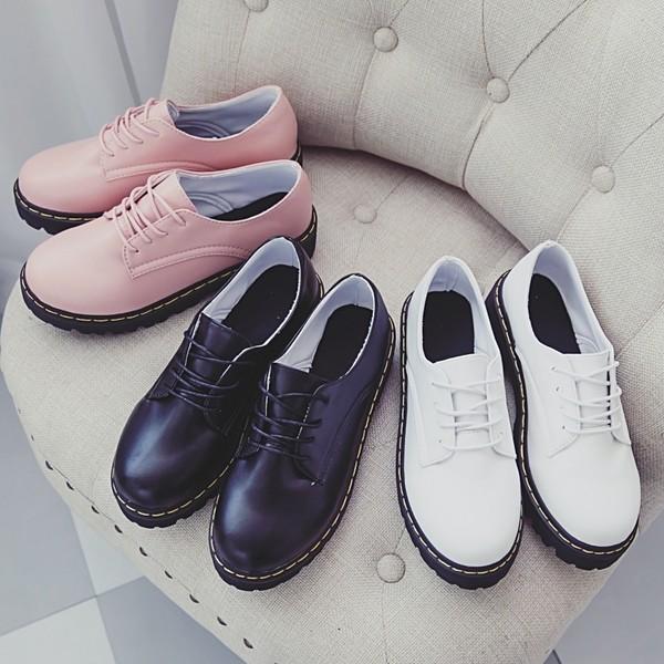 繫帶中跟厚底英倫學院風小皮鞋休閒鞋