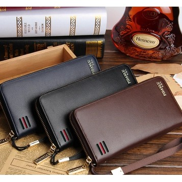 男士長款錢包拉鏈手拿包 休閒大容量錢夾多 多卡位皮夾手包