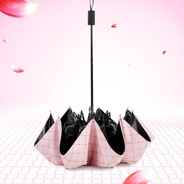 豪邁 社~ 簡約小清新格子格紋雨傘陽傘晴雨傘折疊傘抗UV 黑膠防曬情侶傘公主傘防紫外線傘遮