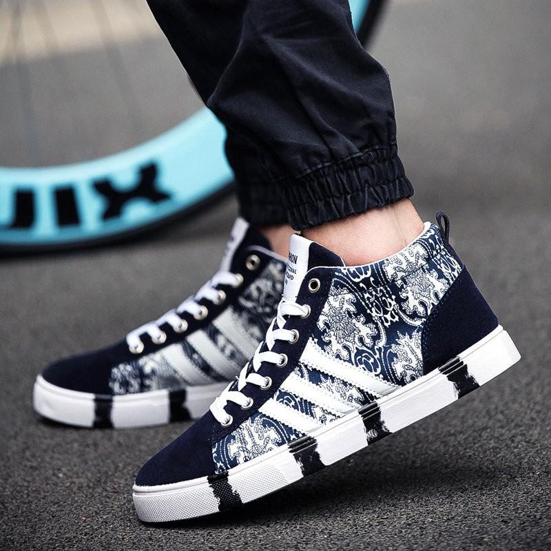 男士潮流帆布鞋中學生迷彩花紋高幫鞋 布鞋滑板鞋男鞋板鞋
