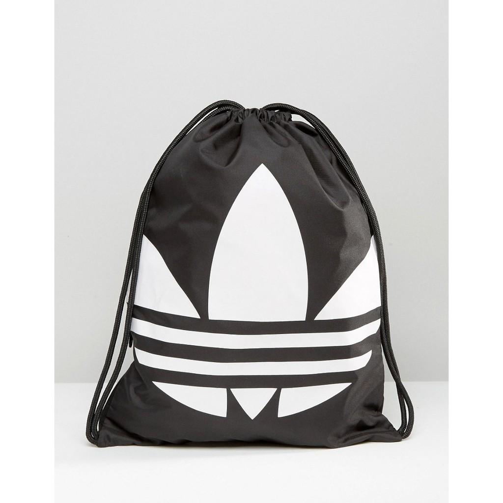adidas Originals Drawstring Backpack 黑色三葉草LOG