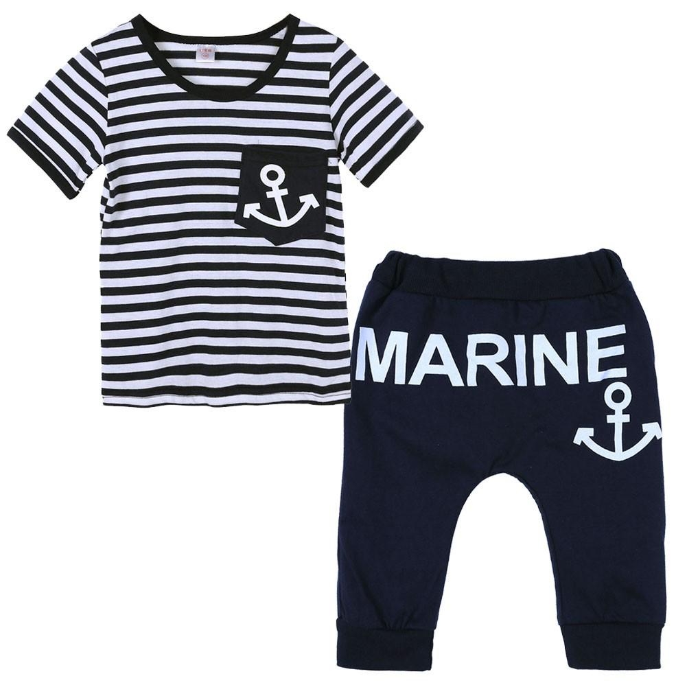 有 !  海軍條紋船錨套裝男童寶寶兩件套