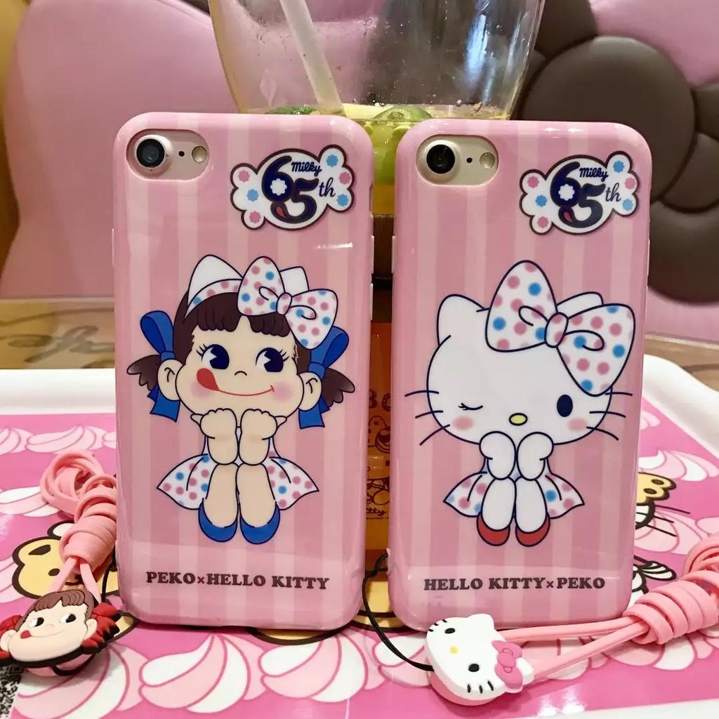 可愛卡通不二家牛奶妹hello kitty 送掛繩蘋果7 手機殼iPhone6s plus