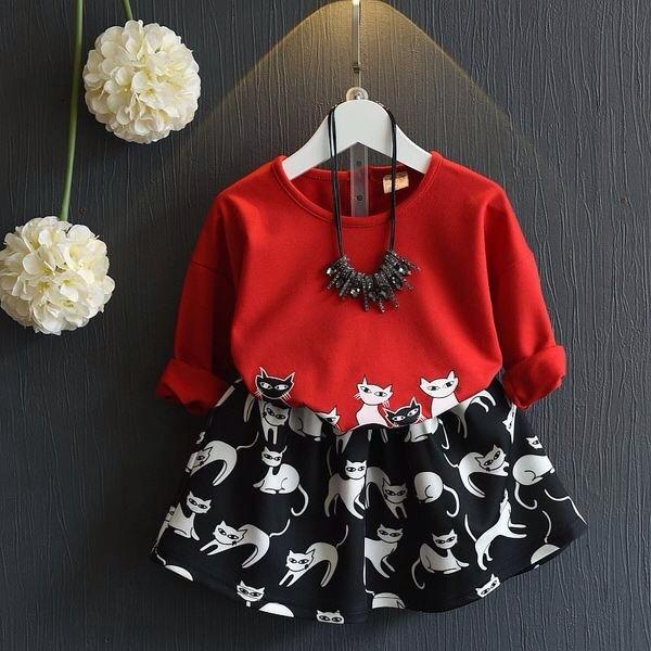 兒童套裝2016  女童可愛卡通貓咪長袖T 恤短裙兩件套裙