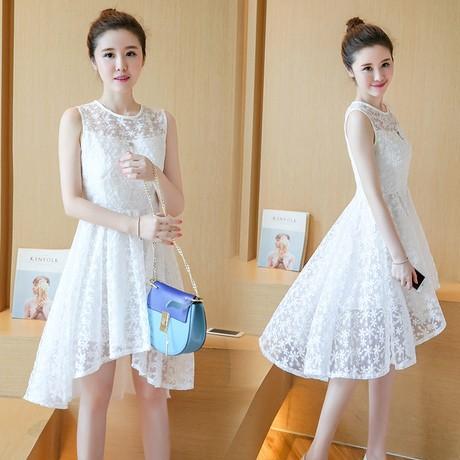 水溶蕾絲無袖洋裝白色❤  水溶蕾絲無袖修身洋裝134 267 65 11319