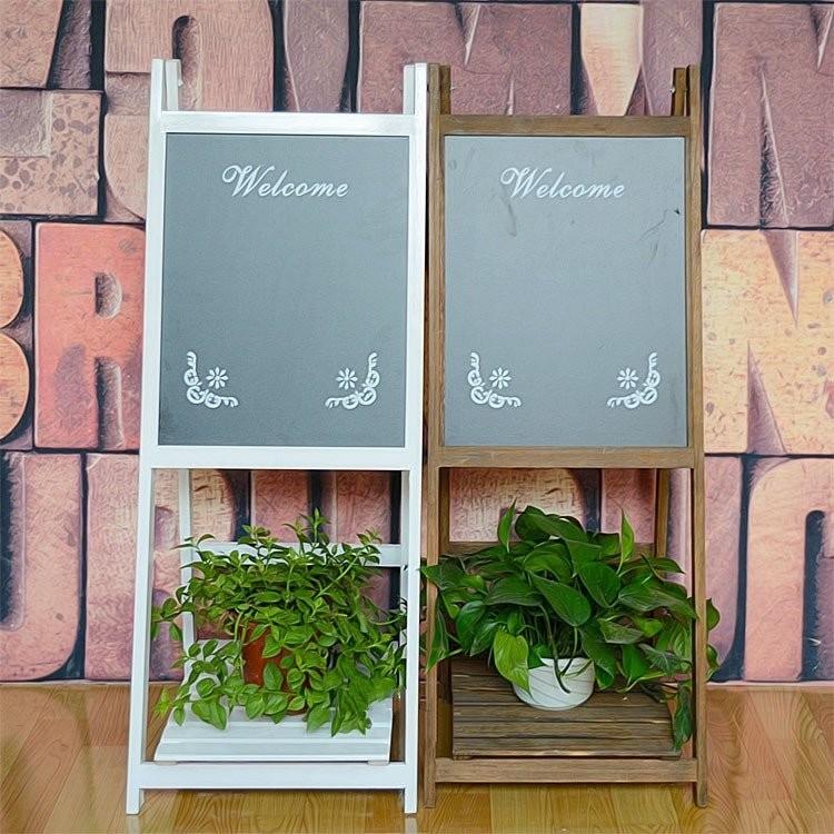 ~客滿來~實木立式黑板花架復古留言板手寫廣告板下層置物盆栽咖啡廳餐廳民宿廣告招牌白色咖啡色