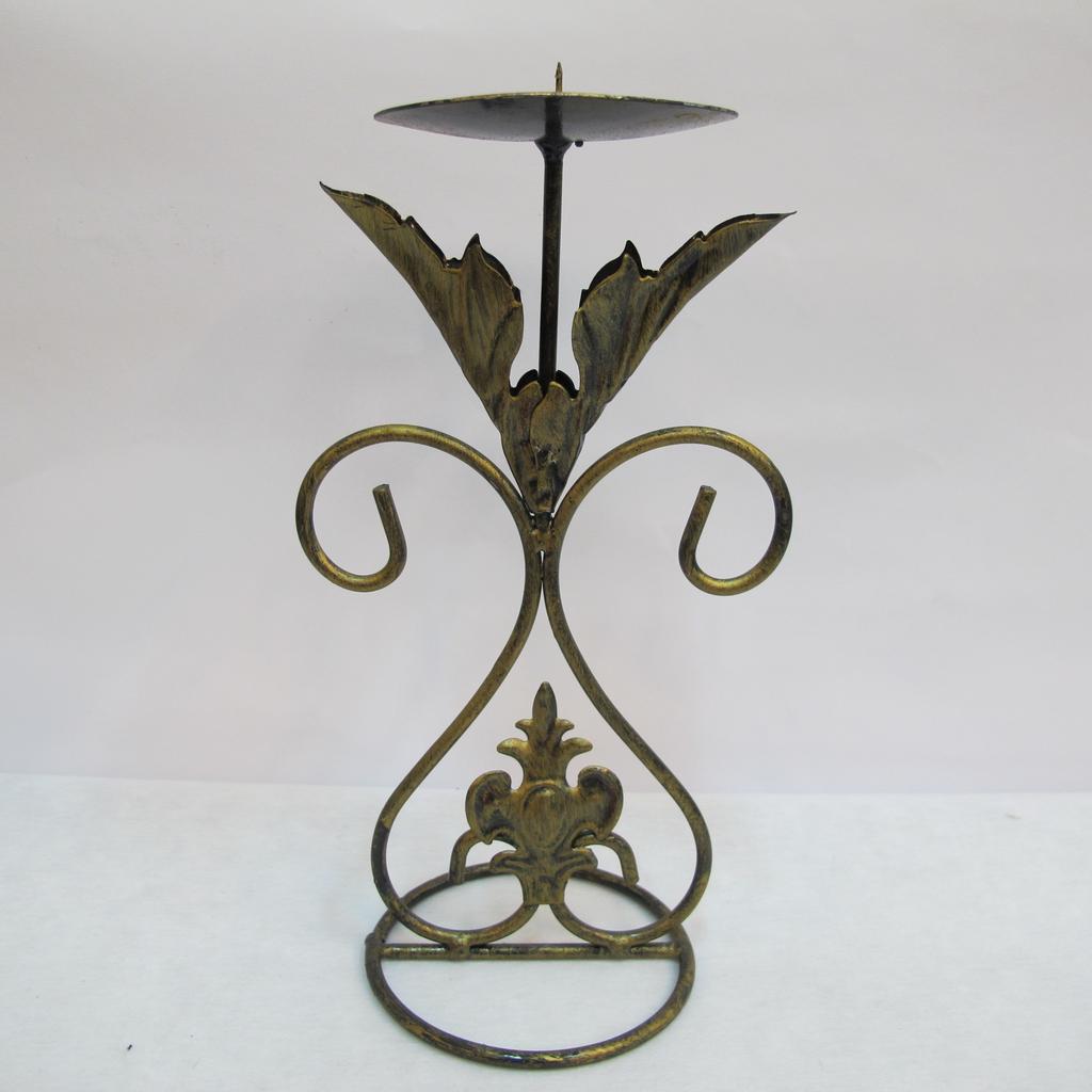 ~樂提小舖~06044 雙葉燭台  蠟燭台鐵製燭臺傢飾裝飾蠟燭台金屬燭台復古風懷舊風