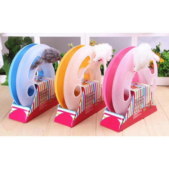 羊~~彈簧鼠轉盤~附鈴鐺軌道球小老鼠逗貓棒圓形瘋狂遊樂盤三合一貓咪遊戲盤轉盤貓咪玩具喵樂多