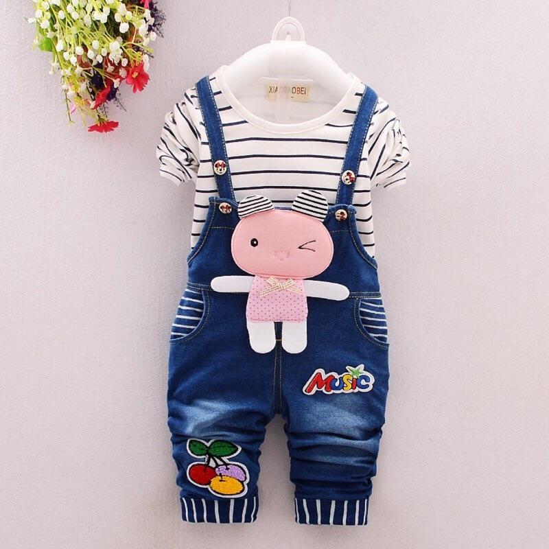 套裝小兔子牛仔長袖吊帶褲純棉 幼童秋裝春裝70 110cm 1 8 歲粉白二色