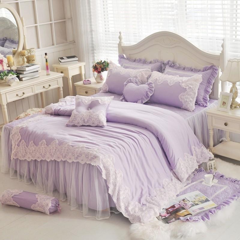 雙人床罩天絲床罩公主風床罩清新可妮粉紫色蕾絲床罩結婚床罩床裙組荷葉邊床罩佛你企業