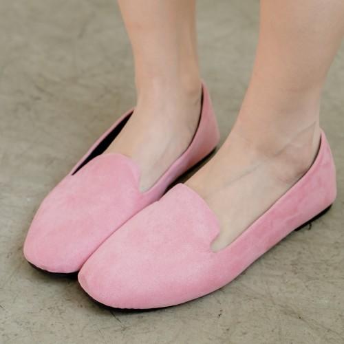 絨布素面淺口娃娃鞋.白鳥麗子