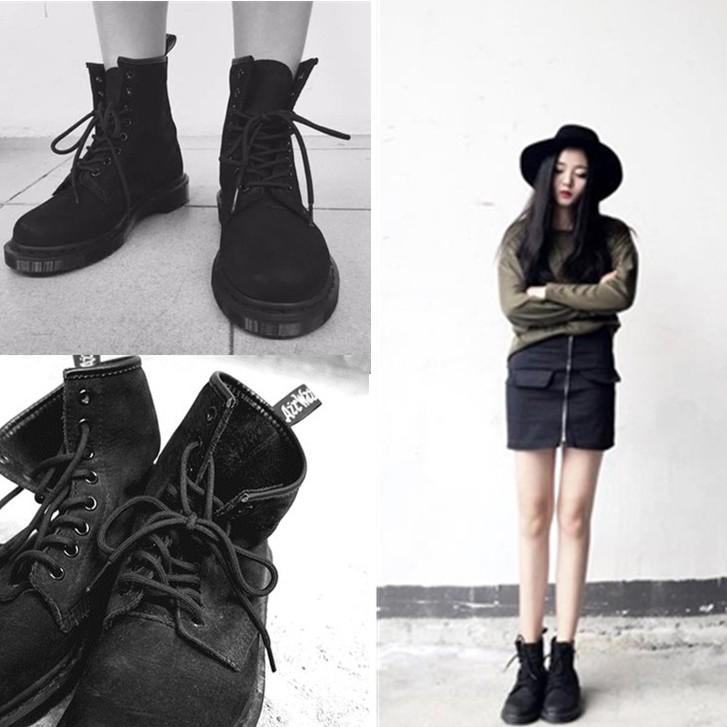 ☞☞☞ギケグ馬丁靴子潮女短靴秋 平底復古皮靴英倫風學生加絨棉鞋保暖短筒
