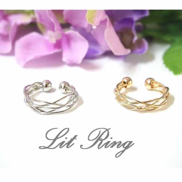 多層次鏤空開口戒指~金色銀色圓弧曲線線條編織纏繞網狀鏤空 戒指 飾品~Lit Ring ~