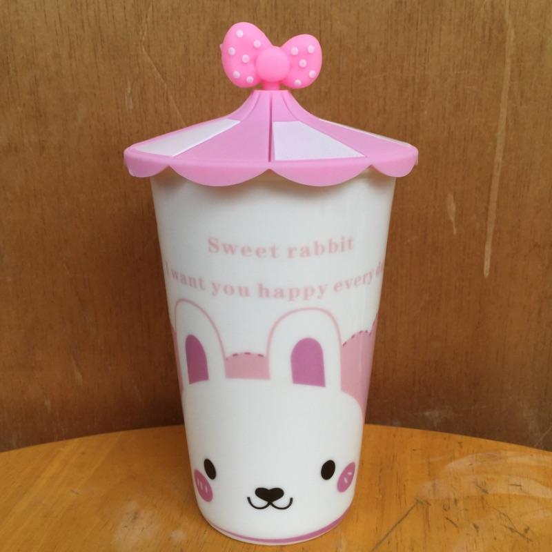 可愛兔兔可愛動物陶瓷馬克杯附環保矽膠杯蓋防塵杯蓋卡通隨手杯暢飲杯熱飲水杯隨手杯約500ml