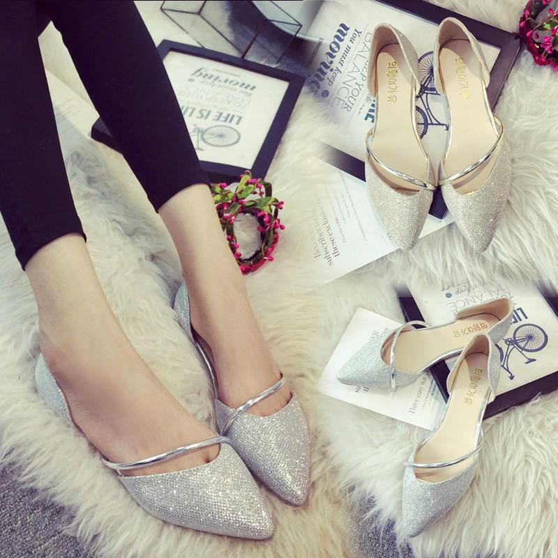2016  平底套腳尖頭單鞋女中空淺口 鏤空平跟女鞋潮