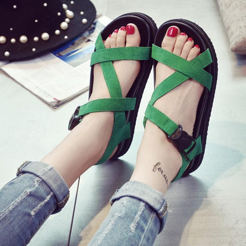 韓國范夏新潮學生平跟羅馬交叉綁帶涼鞋女沙灘鞋平底細帶 女鞋繞2360
