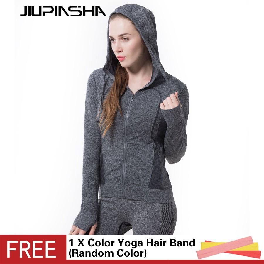 女純色 瑜伽服健身跑步速乾長袖連帽開衫外套帶口袋拉鍊衛衣灰色