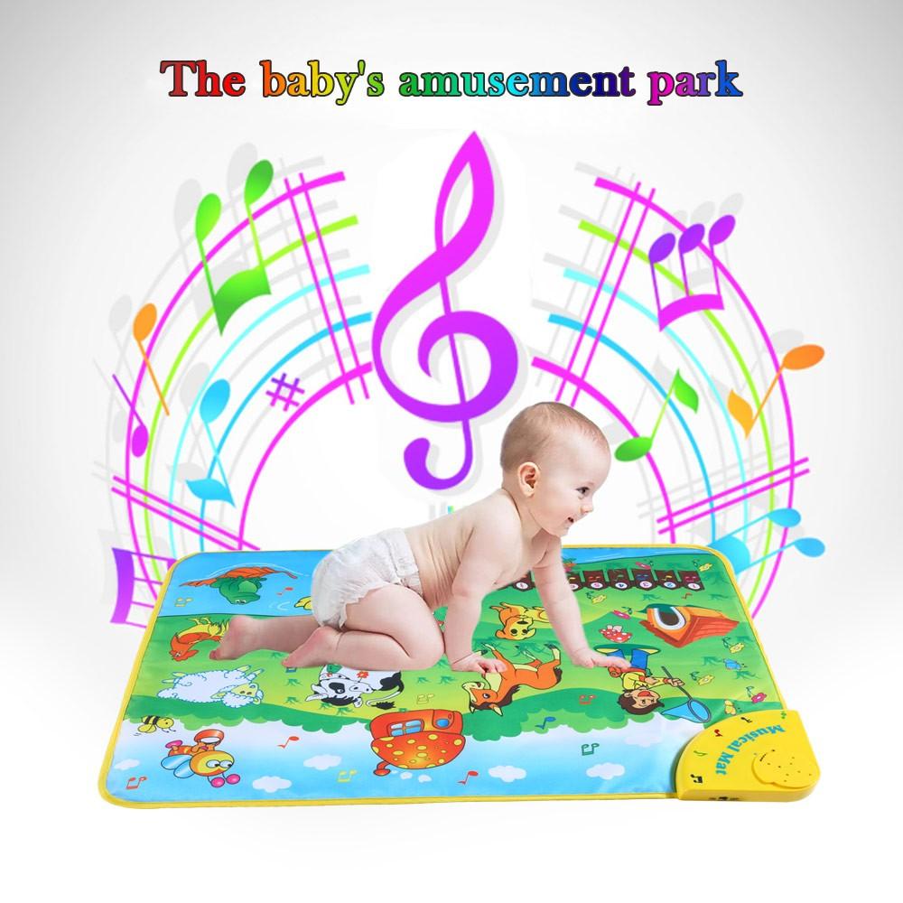 加厚嬰兒爬行墊寶寶遊戲墊早教音樂動物識別學習墊地墊無毒無臭味