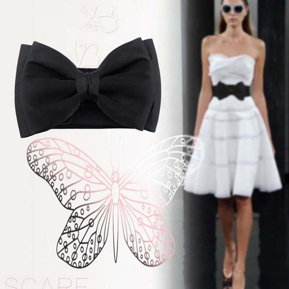 蝴蝶結鬆緊寬闊舒展扣腰帶花環腰鍊皮帶