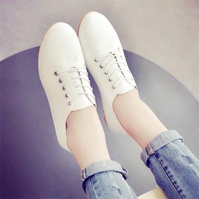 女人世界2016 小白鞋女系帶白色皮單鞋鞋 鞋板鞋平底學生鞋女鞋懶人鞋涼鞋厚帶鞋厚底鞋豆豆