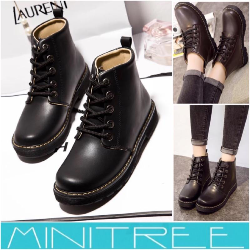 MiniTree ✨ 英倫圓頭簡約百搭舒適平底五孔馬丁靴短靴機車靴35 40 號( )