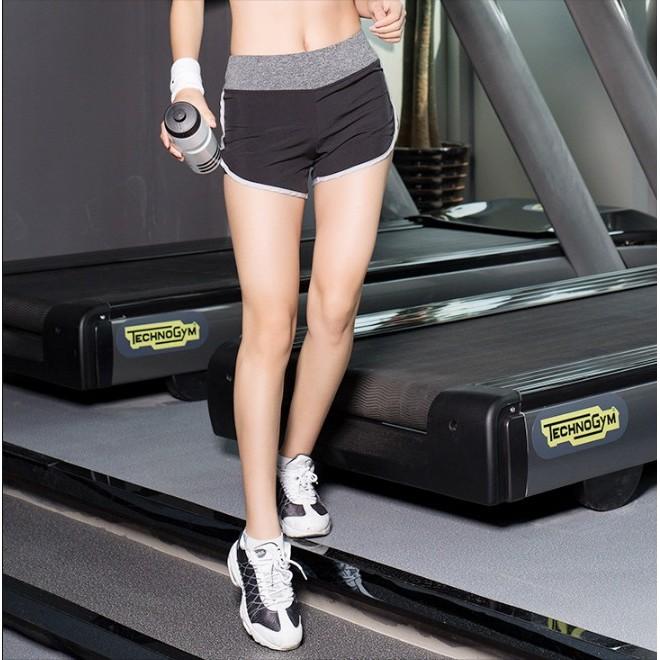 簡約透氣速乾女士 短褲瑜伽褲寬鬆兩件內襯防走光彈力跑步褲