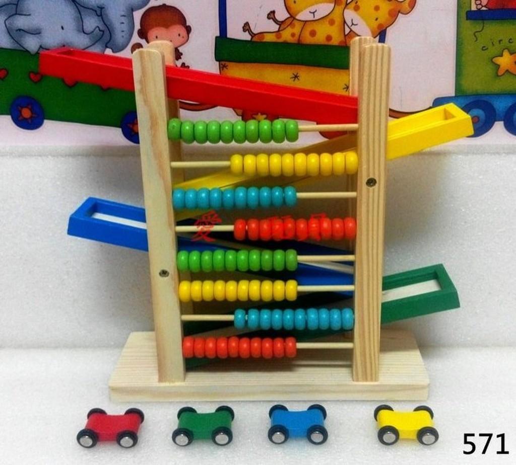 ~愛~玩具~571 木製珠算滑滑車木質滑梯兒童益智玩具滑行車早教遊戲