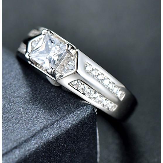 925 銀男戒 簡約 鑲鑽鋯石戒指開口調節銀指環