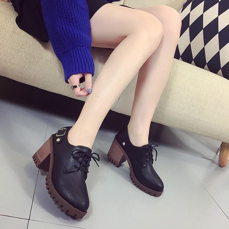 ▶▶百搭鞋櫃▶▶單鞋女百搭 粗跟 系帶性感中跟早春高跟鞋皮帶扣