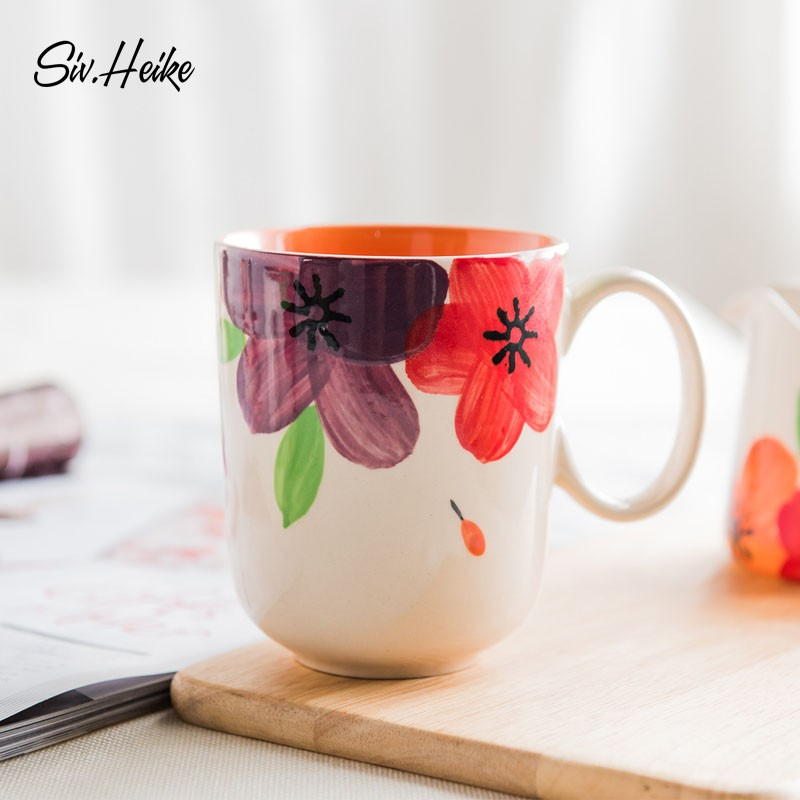 手繪馬克杯大容量 情侶水杯茶杯陶瓷牛奶杯早餐杯子