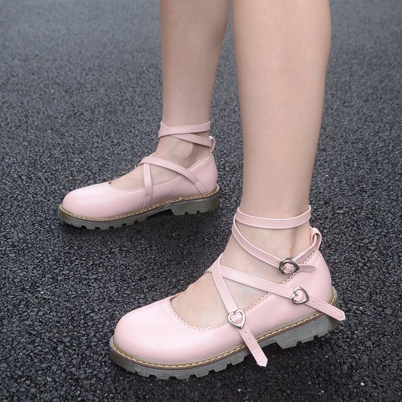 女主腳丶春夏女日系軟妹洛麗塔lolita 綁帶鞋子平底娃娃鞋圓頭學生公主單鞋