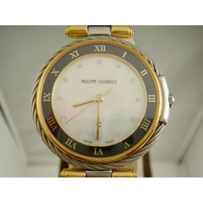 上海當舖流當品CHARRIOL 夏利豪鑽石時標珍珠貝母面盤半金腕錶