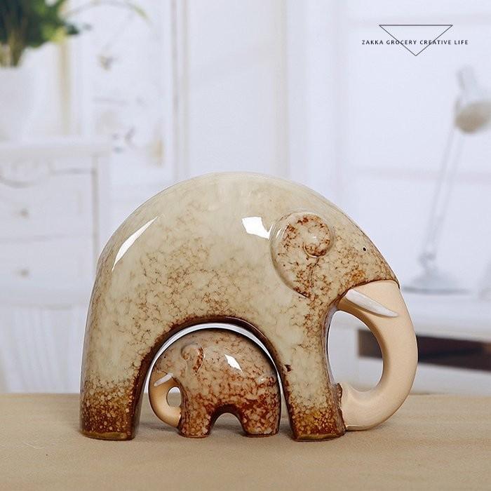 愛的小窩CHZA145 陶瓷母子大象吉祥大象擺件擺設