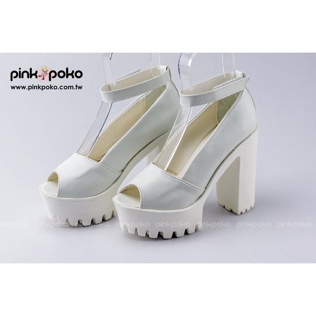 跟鞋~好萊屋女星最愛長腿高防水台粗高跟露趾魚口休閒包鞋2 色1426