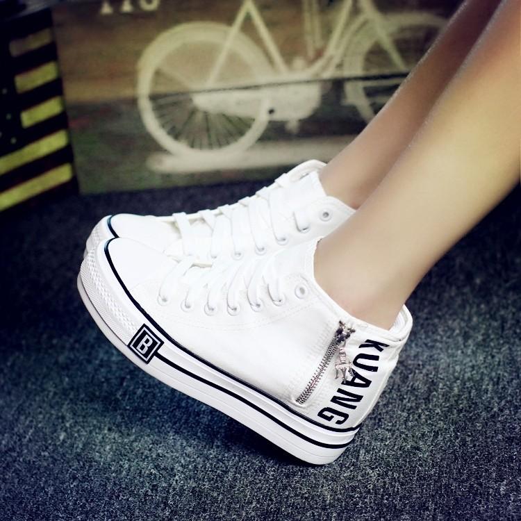 後街五號 鞋館白色低筒帆布鞋女夏中學生厚底內增高女鞋透氣鬆糕底繫帶學院布鞋