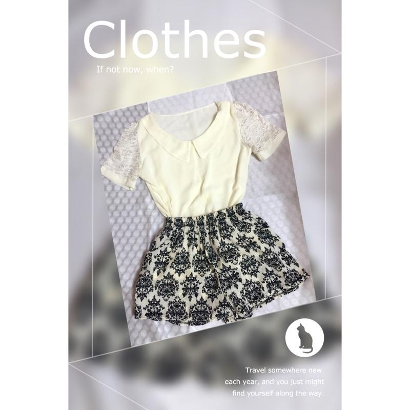 [衣物 ]米白色蕾絲秀上衣復古風圖騰鬆緊短褲