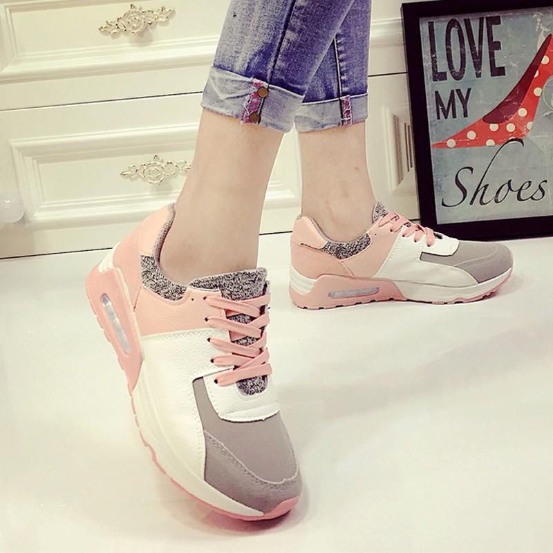 鞋館 跑步學生鞋子 透氣拼色休閒 騷粉氣墊阿甘女鞋旅游鞋女
