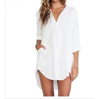 BE 風女士性感V 領休閒寬鬆長襯衫