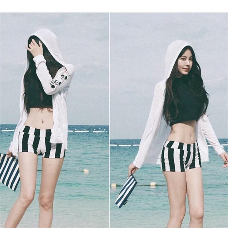 米奇外套三件式泳衣大 泳衣比基尼大 比基尼韓國鋼圈三件式小褲子泳裝泳衣比基尼超性感兩件式泳