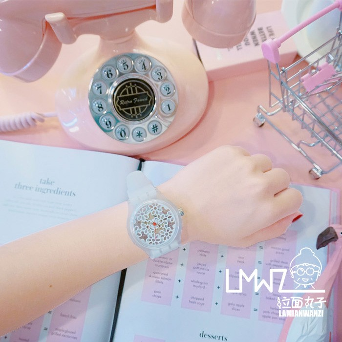 ~格格部落~韓國透明鏤空花朵小清新學生軟妹原宿腕表少女可愛簡約手表石英表