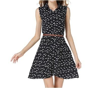 女式貓腳印圖案顯瘦休閒連衣裙(不含腰帶)