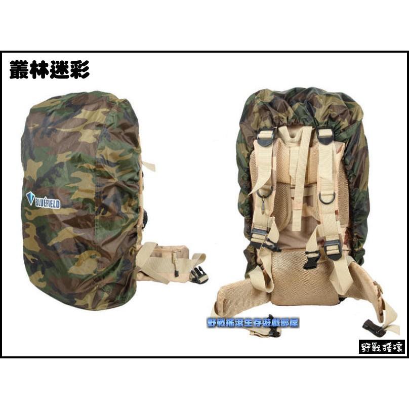 ~野戰搖滾~BLUEFIELD 背包防雨罩、防水罩~叢林迷彩、黑色~L 號 55 80L