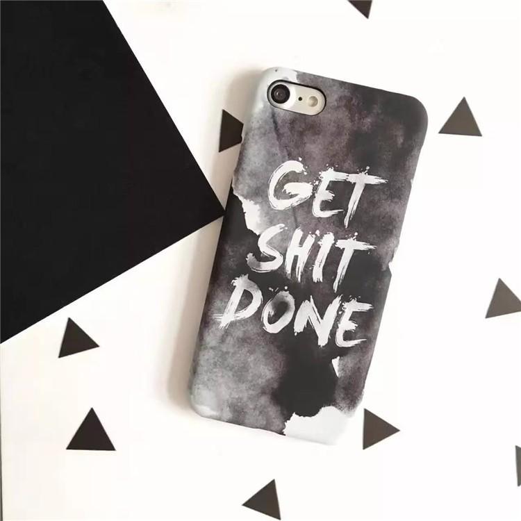水彩英文磨砂高 半包硬殼iPhone7plus 手機殼蘋果6 s 6 s plus 保護殼