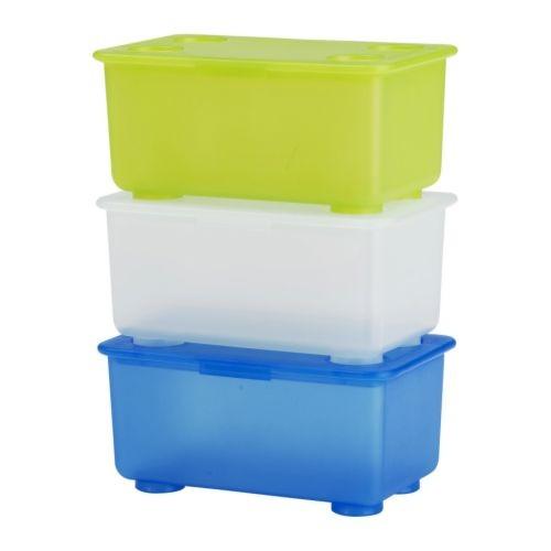 IKEA 附蓋收納盒3 件裝淺綠色白色藍色GLIS 可堆疊儲物盒17x10x8 公分